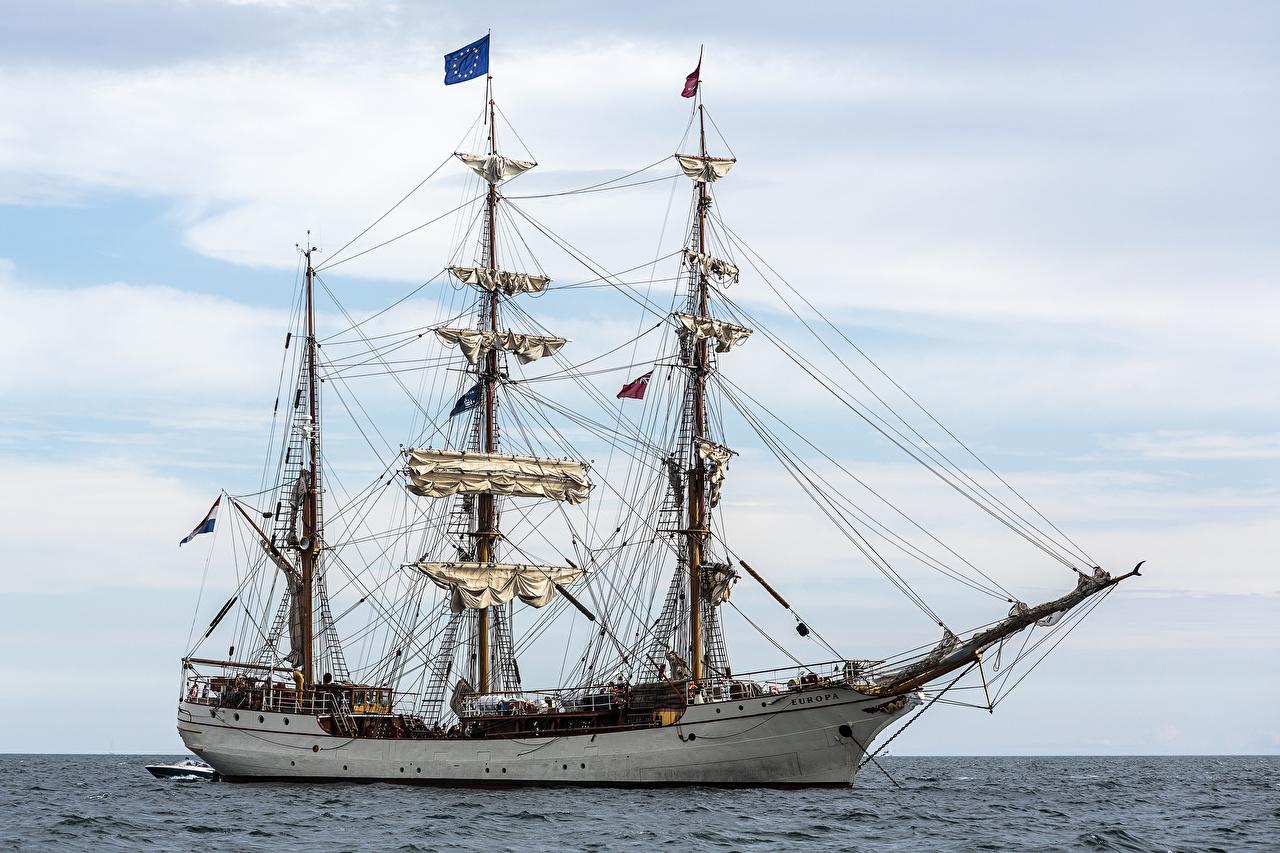 Фотография Море Корабли Сбоку Парусные корабль