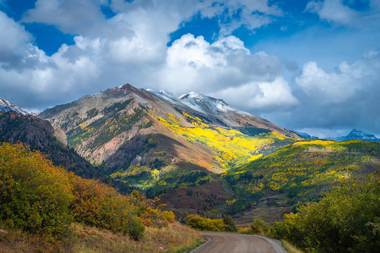 Фотография США Colorado Горы осенние Природа Дороги Облака штаты америка гора Осень облако облачно