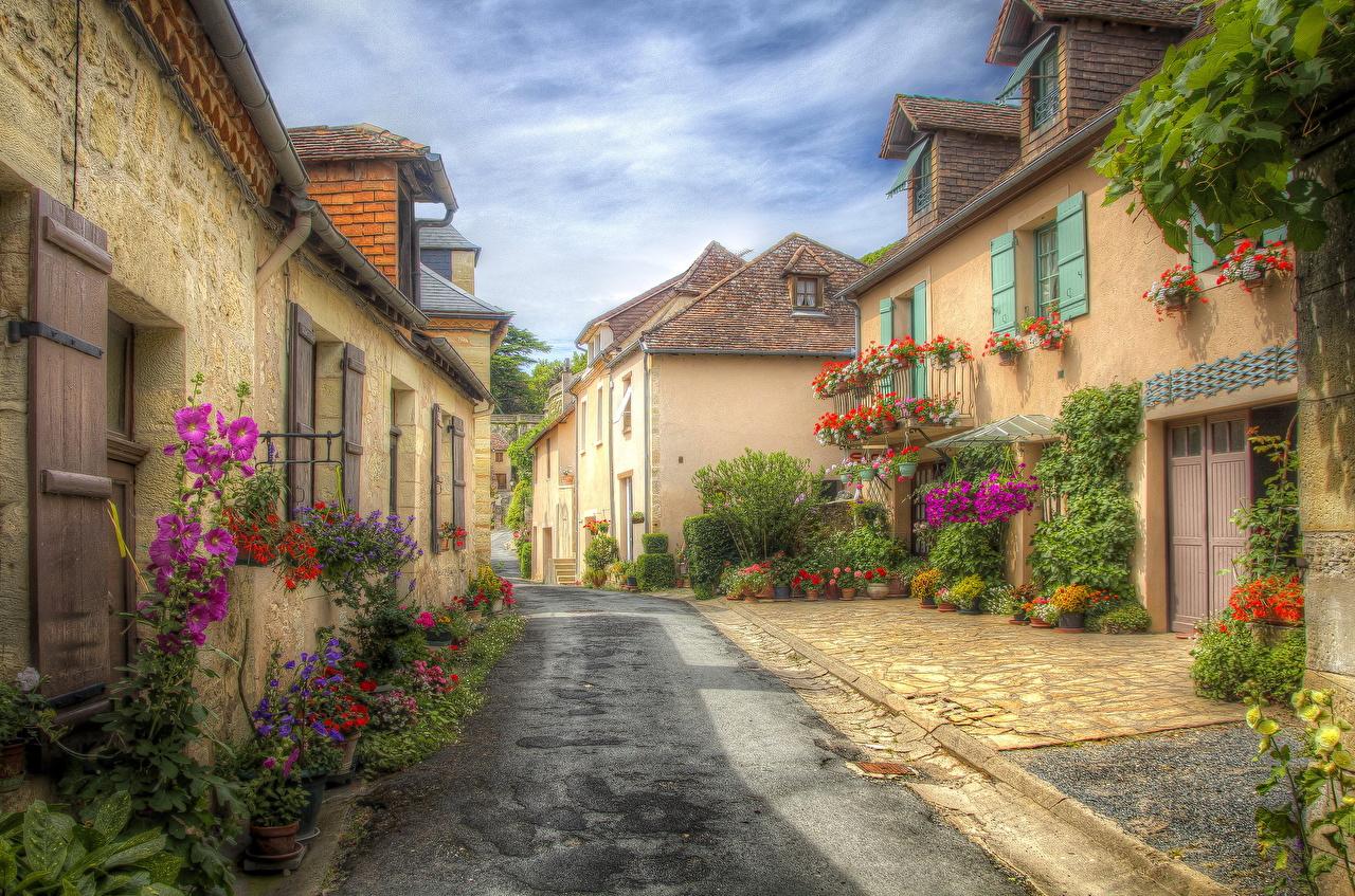 Картинка Франция Aquitaine HDR улиц Дороги город Здания HDRI улице Улица Дома Города