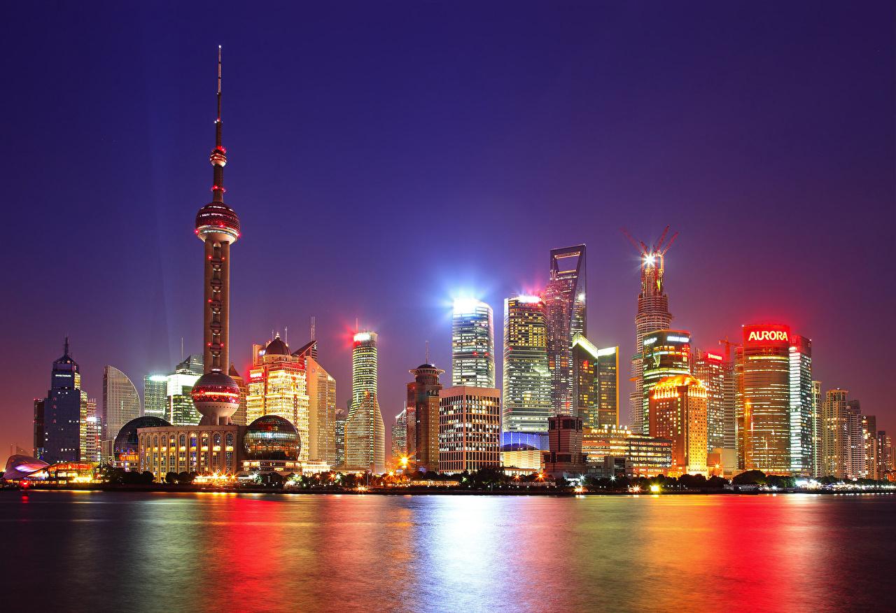 Обои здания, шанхай, ночной город, shanghai, китай, china. Города foto 11