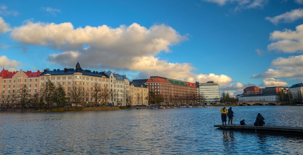 Фотография Хельсинки Финляндия Рыбалка речка Причалы Дома Города ловля рыбы Реки Пирсы Пристань Здания