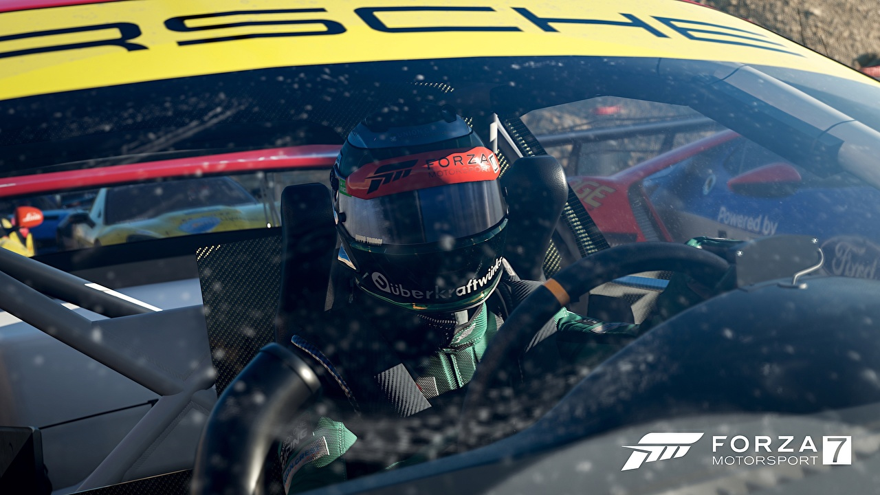 Картинки Forza Motorsport 7 Порше Шлем гонки компьютерная игра Porsche шлема в шлеме Ралли Игры