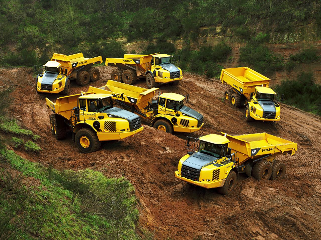 Фотографии Volvo Грузовики A40E, A35E FS, A35E, A40E FS, A25E 6×6, A30E желтых автомобиль Вольво желтая желтые Желтый авто машины машина Автомобили