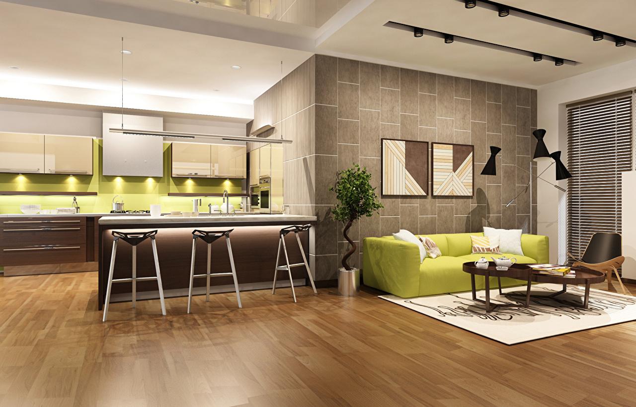 Фото Кухня Гостиная 3D Графика Интерьер Диван дизайна кухни гостевая 3д диване Дизайн