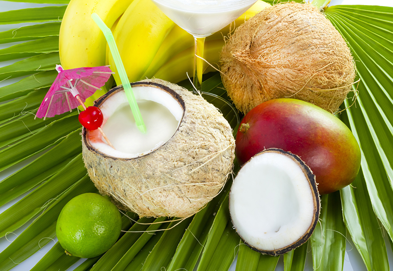 Фотография Сок Кокосы Авокадо Зонт Продукты питания Еда Пища