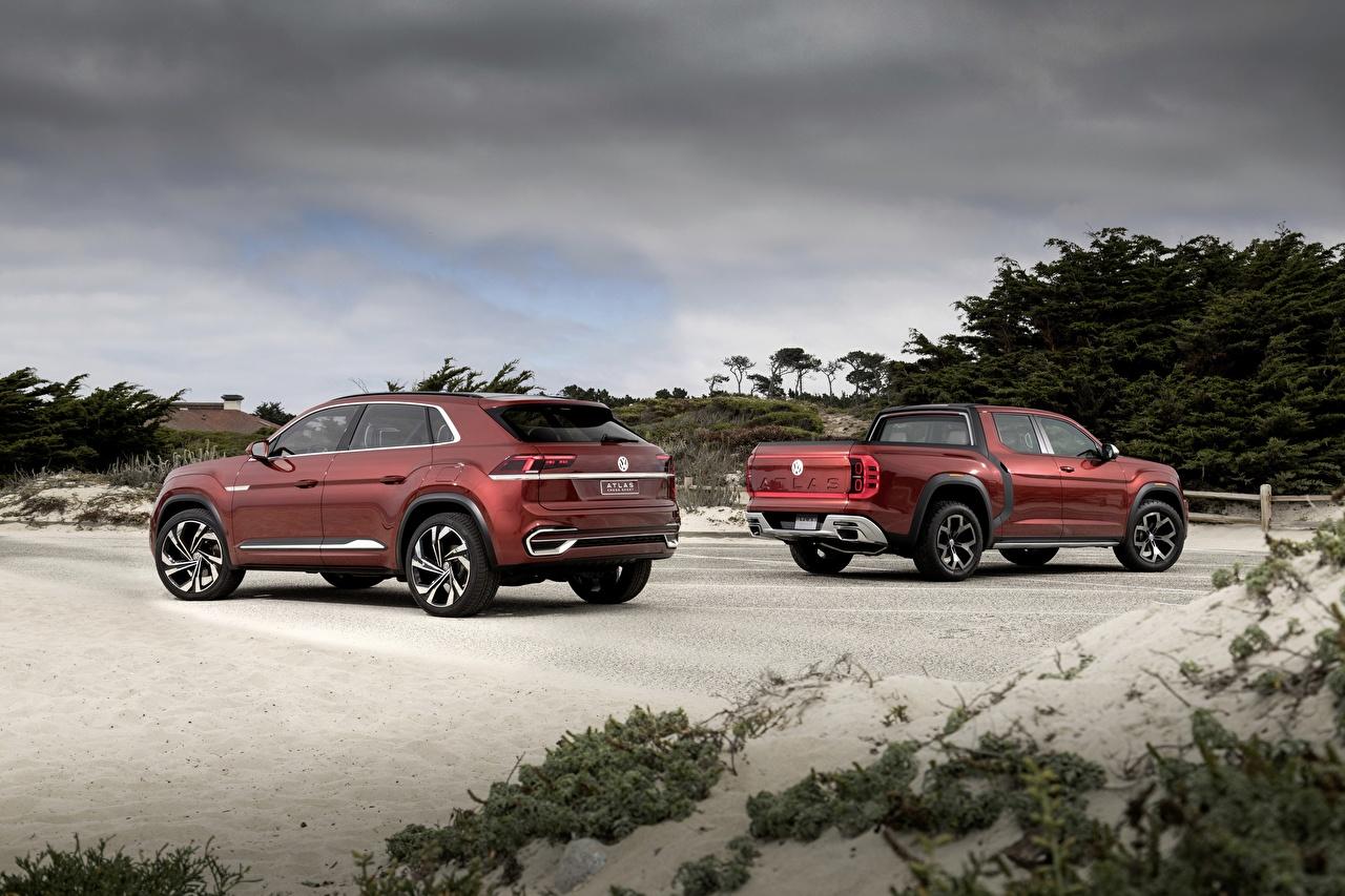 Фото Volkswagen Внедорожник 2018 Atlas Tanoak Concept, Atlas Cross Sport Пикап кузов Красный Автомобили Фольксваген SUV Авто Машины