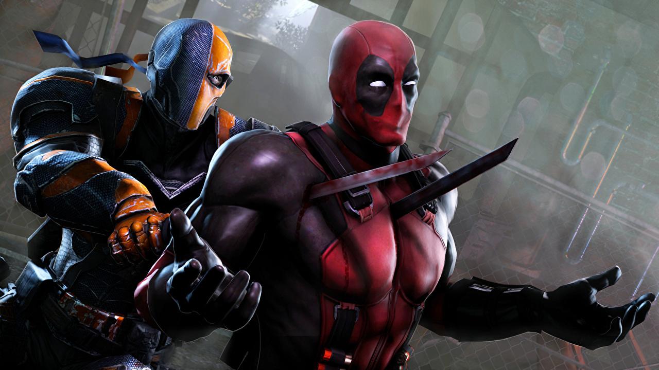Фото с мечом супергерои Deadpool герой два Фэнтези 3D Графика Битвы меч меча Мечи Герои комиксов Дэдпул 2 3д две Двое вдвоем Фантастика битва сражения
