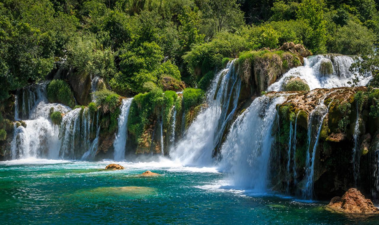 Фотографии Хорватия Krka National Park Утес Природа Водопады парк Скала скале скалы Парки