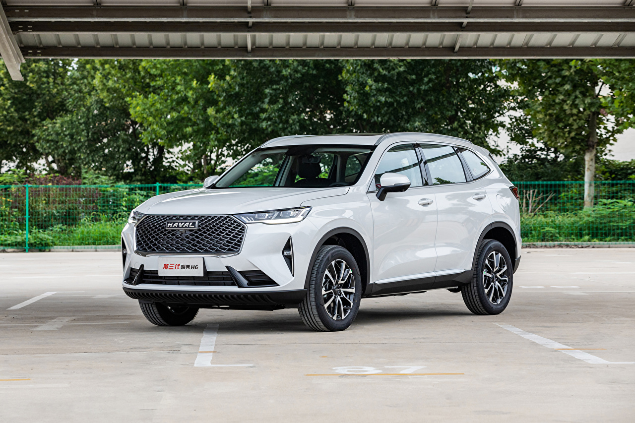 Картинка Haval Китайские Кроссовер H6 (B01), 2020 -- белых машины Металлик китайский китайская CUV белая белые Белый авто машина Автомобили автомобиль
