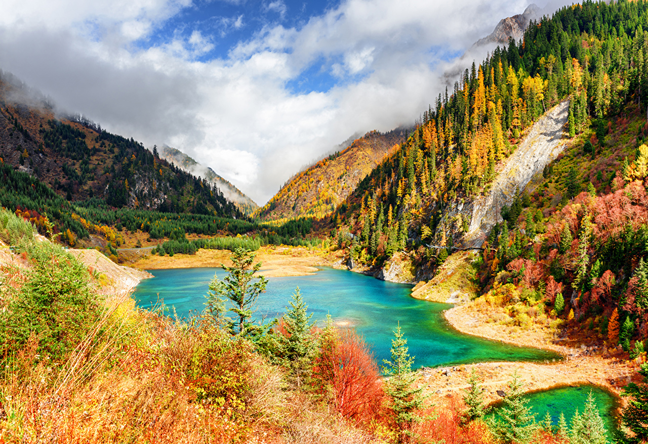 Цзючжайгоу парк, Китай, Парки, Горы, Озеро, Осень, Леса, Пейзаж  осенние,  Природа
