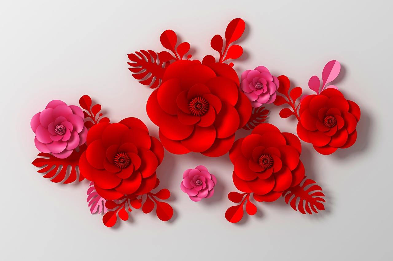 Картинка Узоры красная 3D Графика Цветы Серый фон орнамент 3д Красный красные красных цветок сером фоне