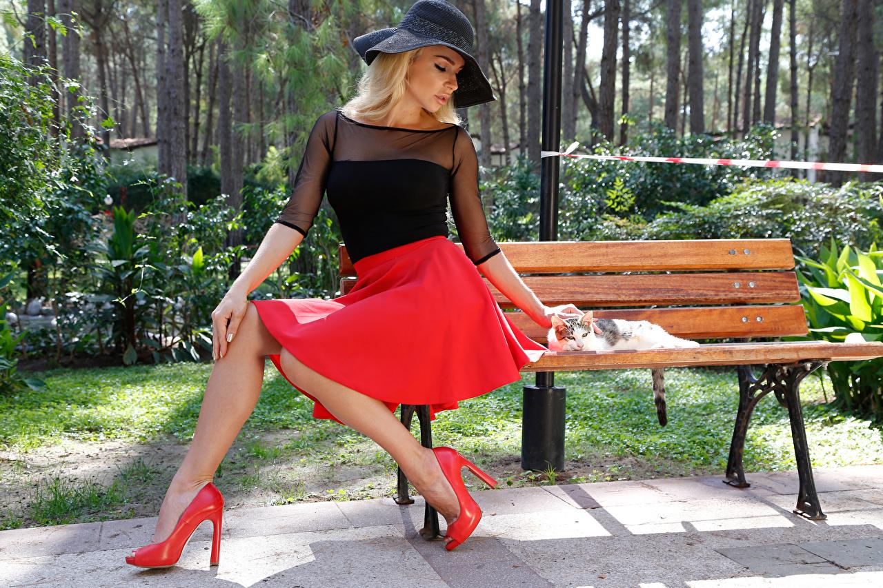 Фото Юбка Блондинка шляпе молодые женщины Сидит Скамейка Туфли юбки юбке блондинки блондинок шляпы Шляпа девушка Девушки молодая женщина сидя Скамья сидящие туфель туфлях