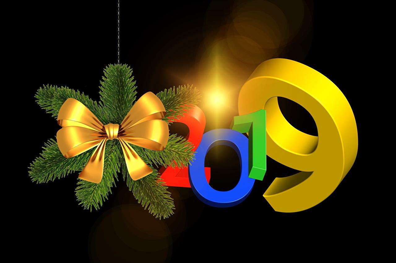 Фотография 2019 Новый год 3д бант на черном фоне Рождество 3D Графика Бантик бантики Черный фон