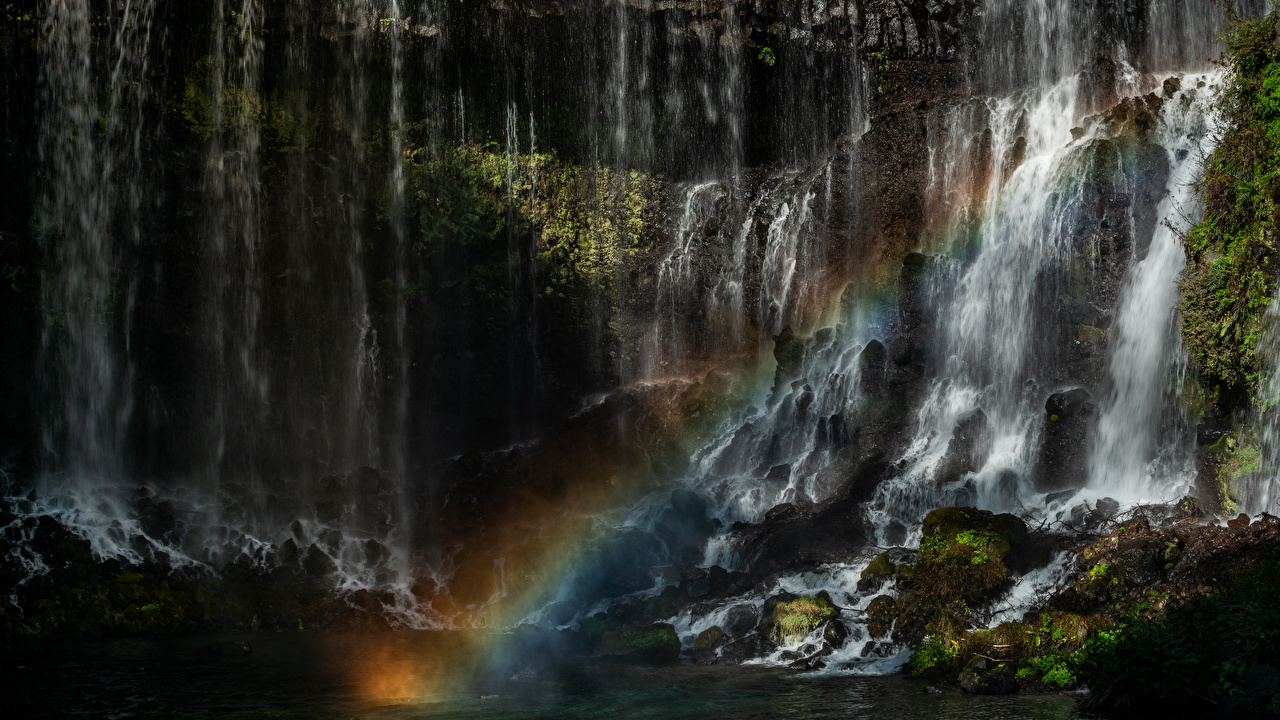 Картинки Япония Shiraito Falls радуги Природа Водопады Радуга