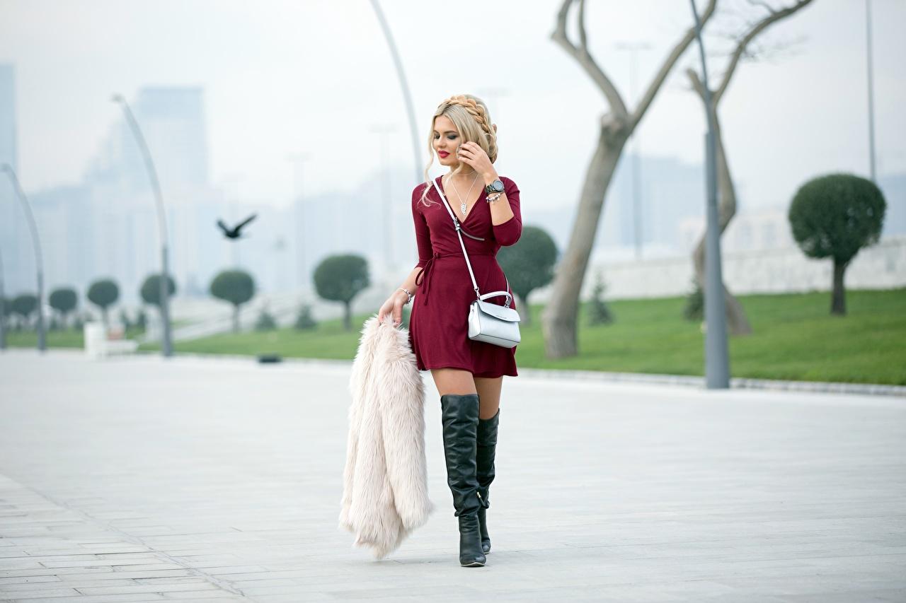 Фотография блондинок Шуба сапогов боке молодые женщины Ноги Сумка Платье блондинки Блондинка шубе шубой сапог Сапоги сапогах Размытый фон девушка Девушки молодая женщина ног платья