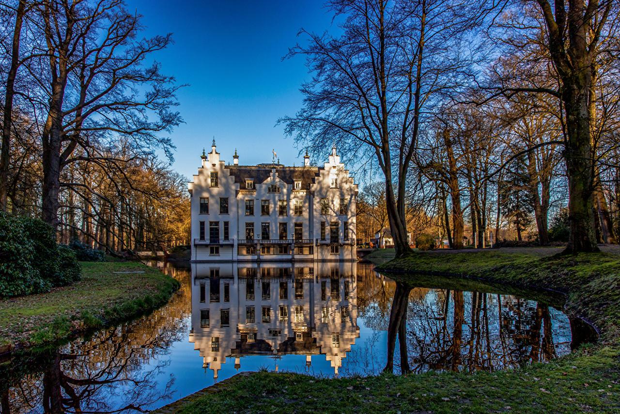 Фото Нидерланды Landgoed Staverden замок Природа Пруд Парки Отражение Деревья голландия Замки парк отражении отражается дерево дерева деревьев