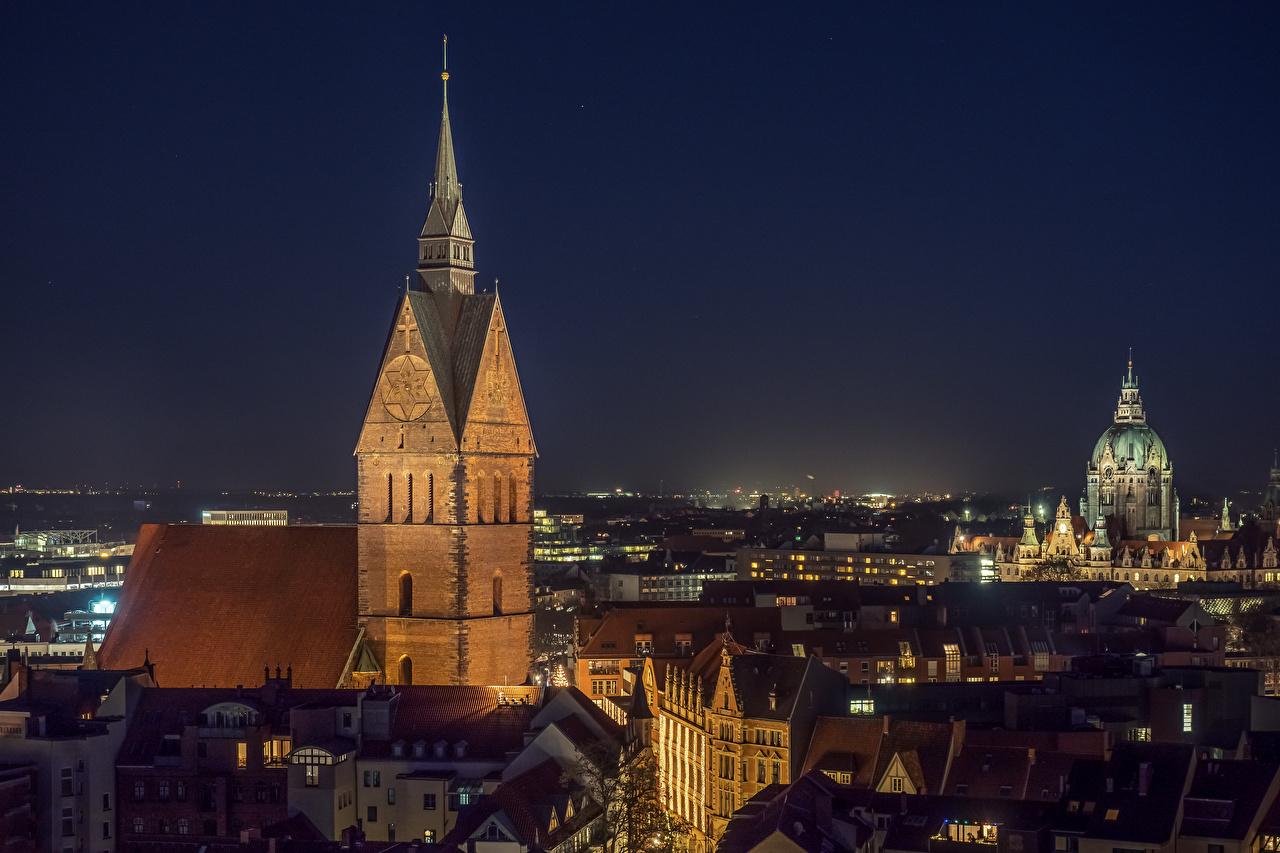 Фотография Церковь Германия Hannover, Marktkirche ночью Здания Города Ночь в ночи Ночные Дома город