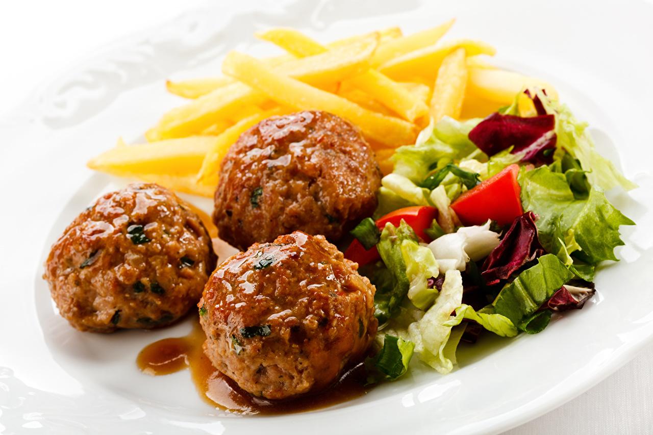 Фотография котлета Картофель Еда три Салаты Котлеты картошка Пища Трое 3 втроем Продукты питания