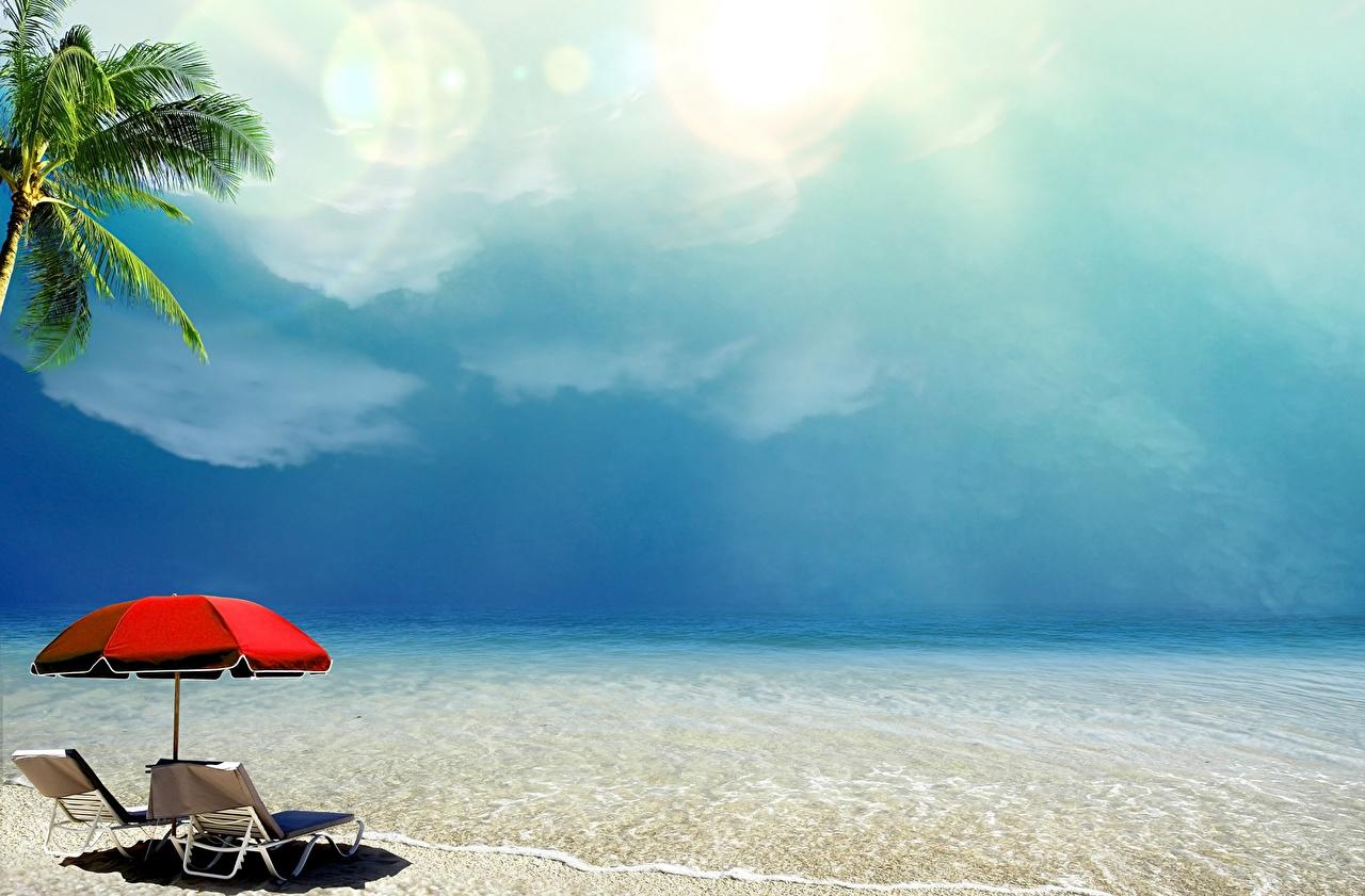 Фотография Море Природа Небо тропический Зонт берег Тропики зонтик зонтом Побережье
