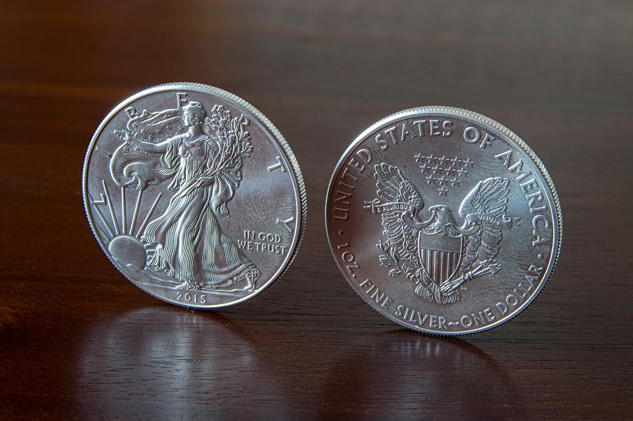 Обои Монеты Доллары Английский 2015 2 Деньги Двое вдвоем