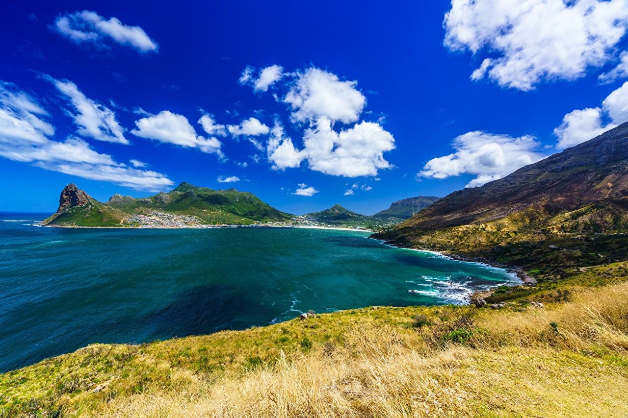 Картинки ЮАР Cape Town, Hout Bay Природа Небо берег Залив облако Южно-Африканская Республика заливы залива Побережье Облака облачно