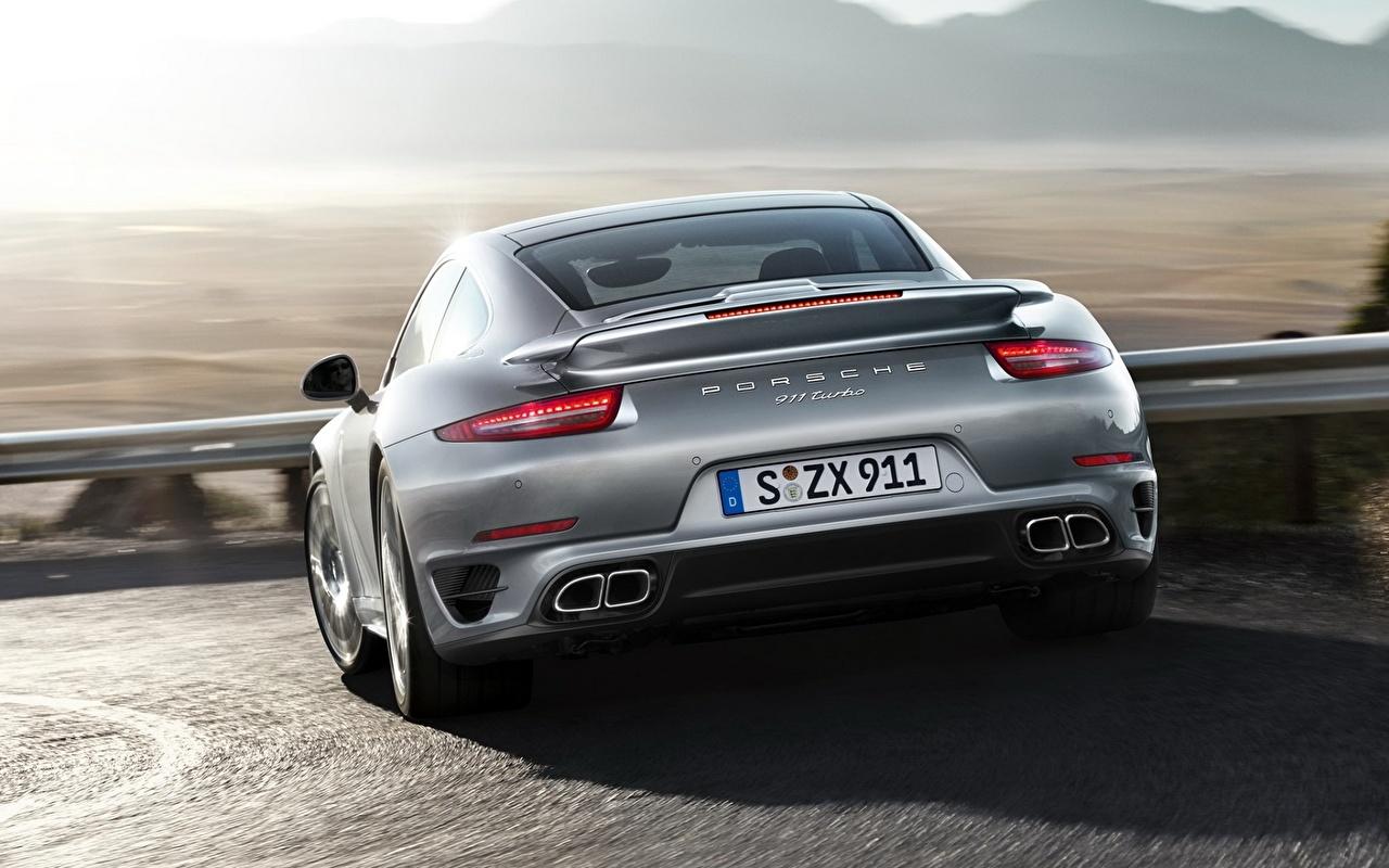 Обои для рабочего стола Порше 911 Turbo Серый вид сзади автомобиль Porsche серые серая авто Сзади машина машины Автомобили