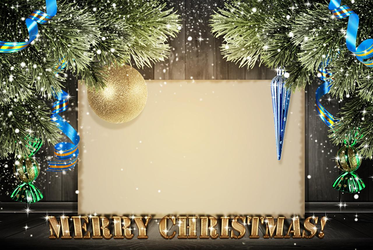 Картинка Рождество Английский Лента ветвь Шарики Шаблон поздравительной открытки Новый год Шар Ветки ленточка