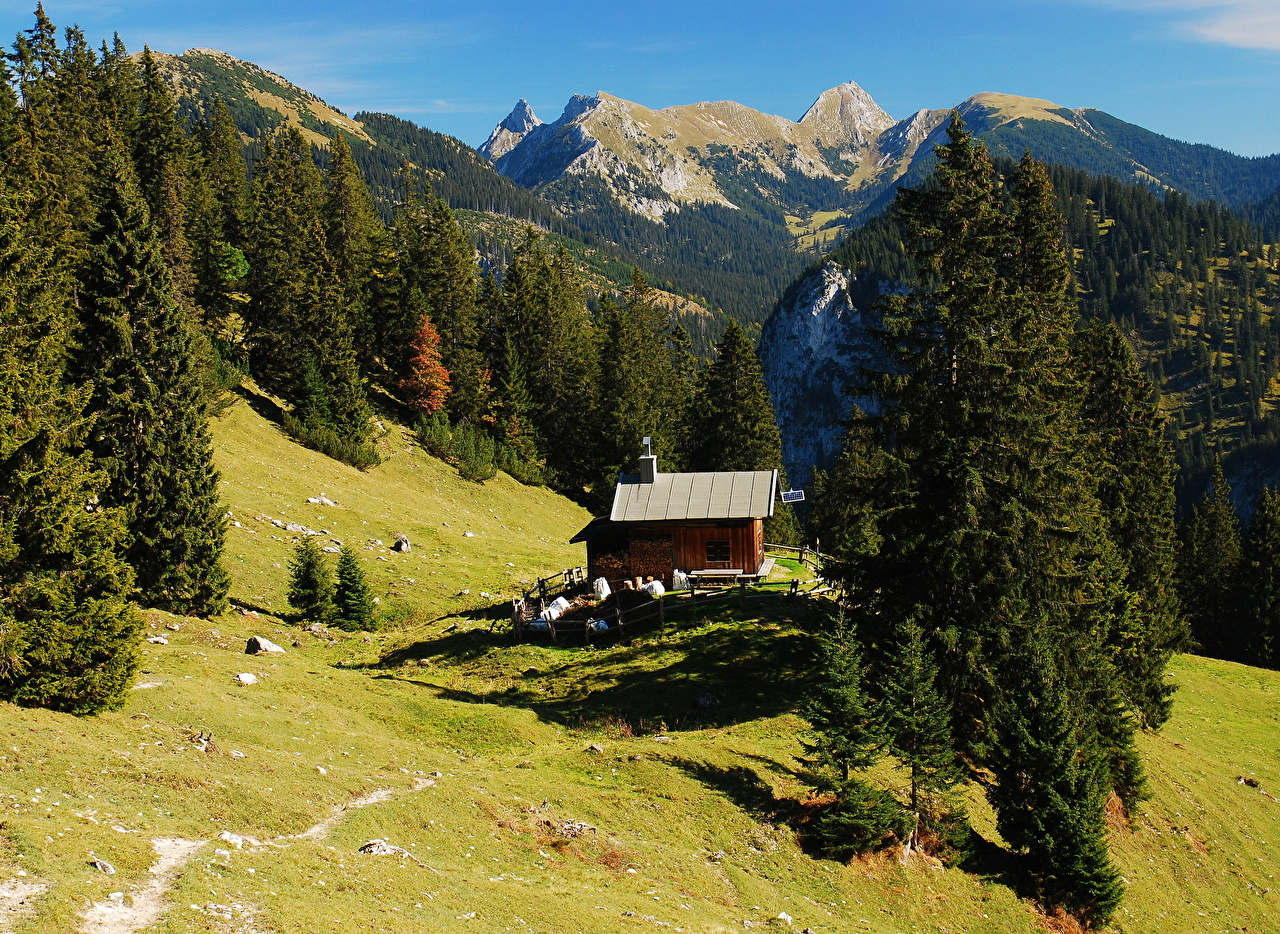 Картинка Бавария Германия Hohenschwangau Горы Природа Пейзаж гора