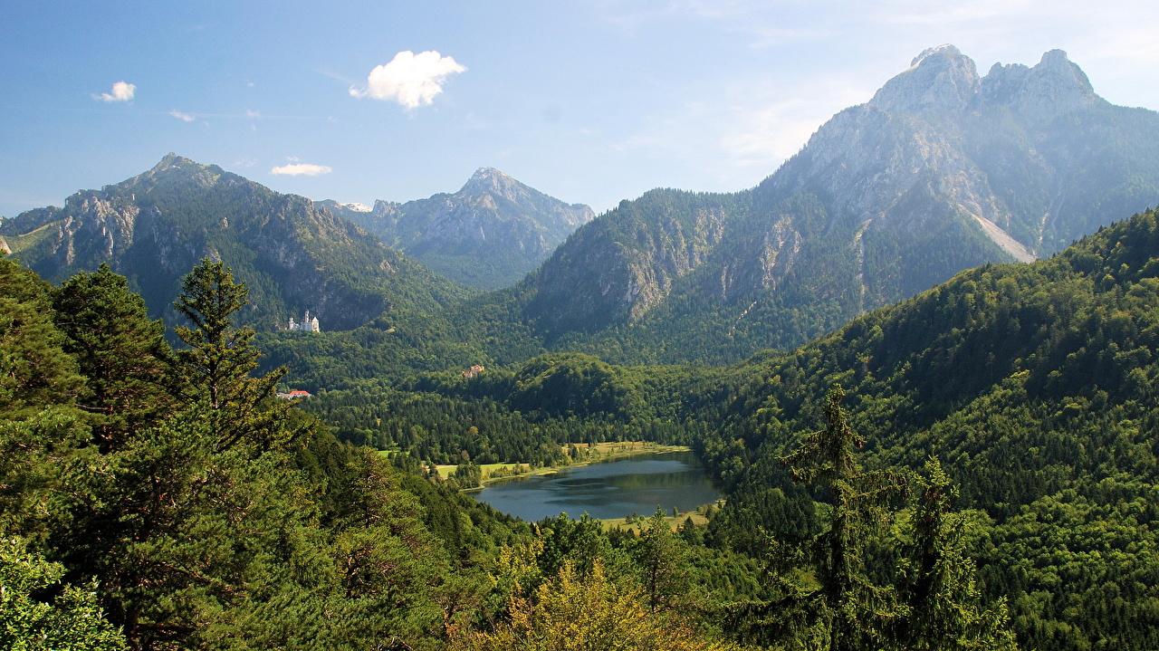 Обои для рабочего стола Бавария Альпы Neuschwanstein Горы Природа Пейзаж альп гора