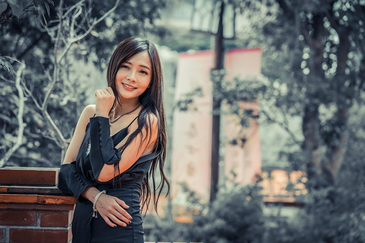 Обои для рабочего стола Брюнетка улыбается Размытый фон Девушки Азиаты Руки Взгляд брюнетки брюнеток Улыбка боке девушка молодая женщина молодые женщины азиатки азиатка рука смотрит смотрят