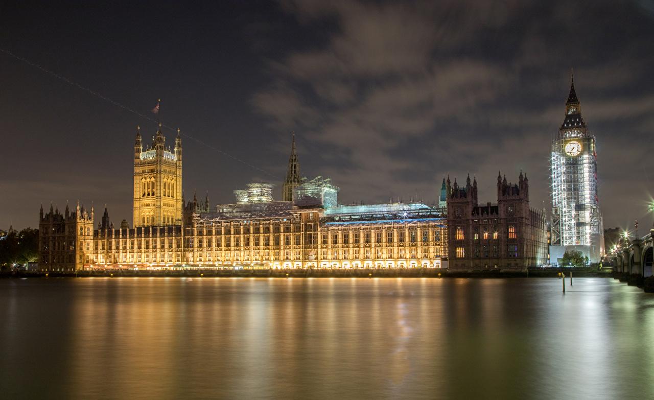 Обои Лондон Биг-Бен Англия Ночь Реки Города Здания речка Ночные Дома