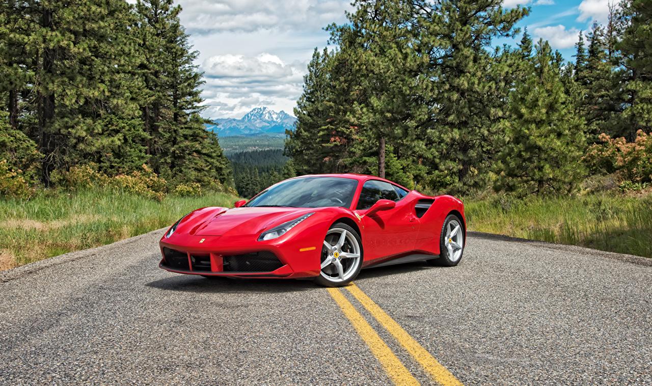 Фото Ferrari 2016 488 GTB Красный Металлик Автомобили Феррари Авто Машины