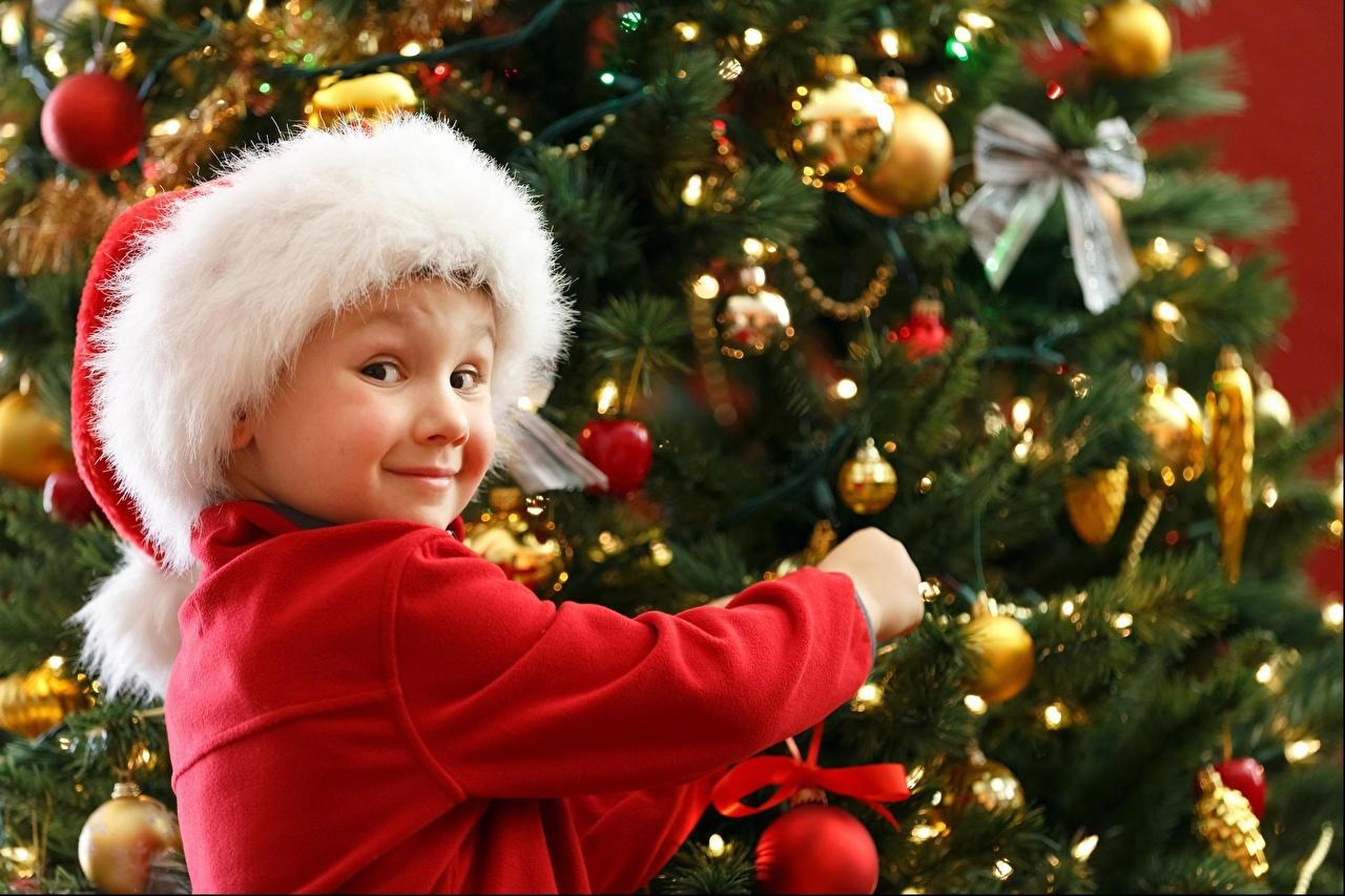 Картинка Улыбка Ребёнок Шапки Новогодняя ёлка Шар Бантик смотрят улыбается Дети Елка шапка в шапке бант Шарики бантики Взгляд смотрит