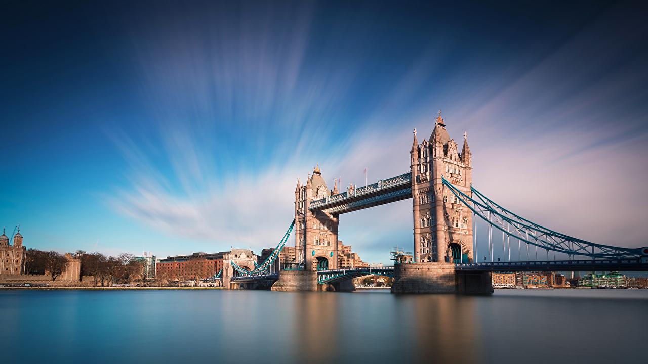Фотография Лондон мост Природа Небо Реки лондоне Мосты река речка