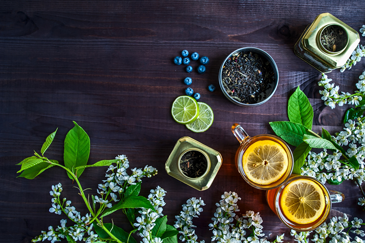 Фото Чай Лимоны Черника Пища чашке ветвь Еда Чашка ветка Ветки на ветке Продукты питания