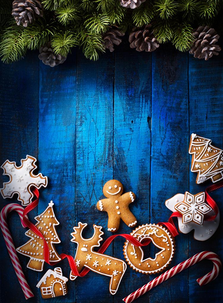 Фотографии Олени Рождество Елка Еда Шишки Стена Печенье Сладости Доски Дизайн Новый год Новогодняя ёлка Пища стенка Продукты питания