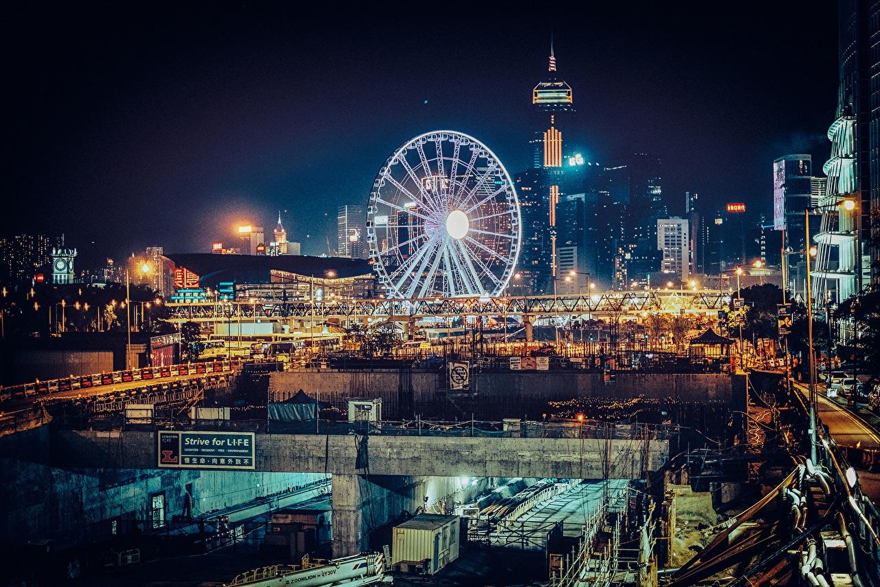 Фотография Гонконг Китай Колесо обозрения Ночные Дома Города колесом обозрения Ночь ночью в ночи город Здания