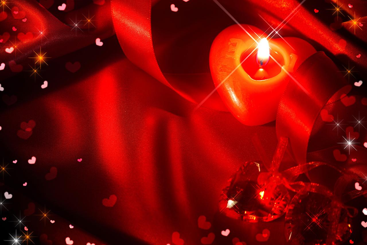Картинка День всех влюблённых сердечко Свечи Лента День святого Валентина серце Сердце сердца ленточка