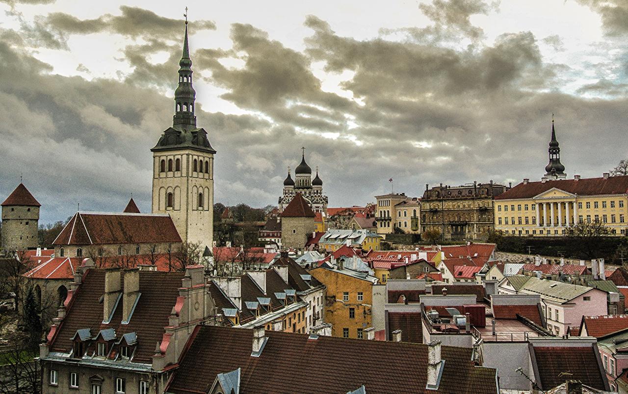 Фотографии Таллин Эстония Небо Дома Города город Здания