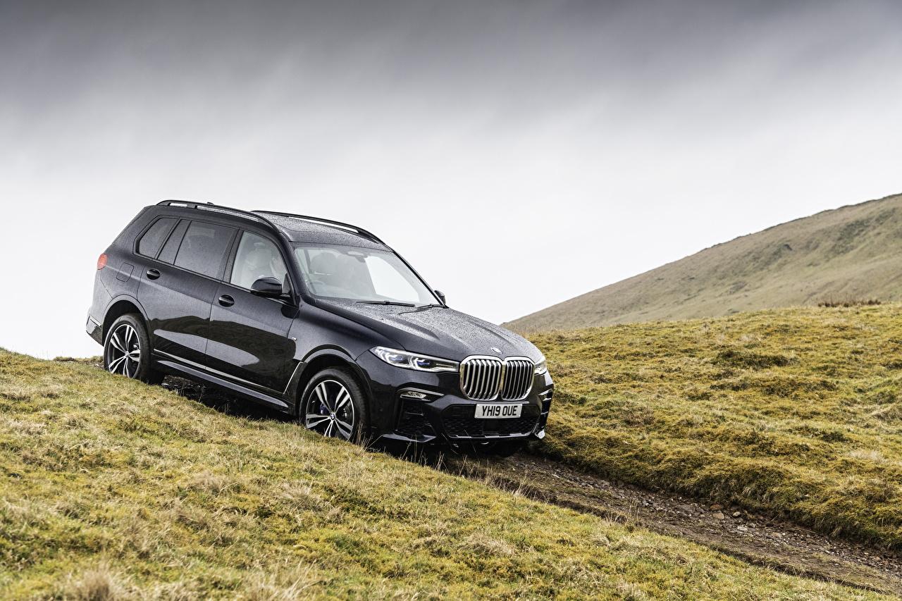 Картинки BMW Универсал 2019 X7 xDrive30d M Sport черная машина Металлик БМВ черных черные Черный авто машины автомобиль Автомобили