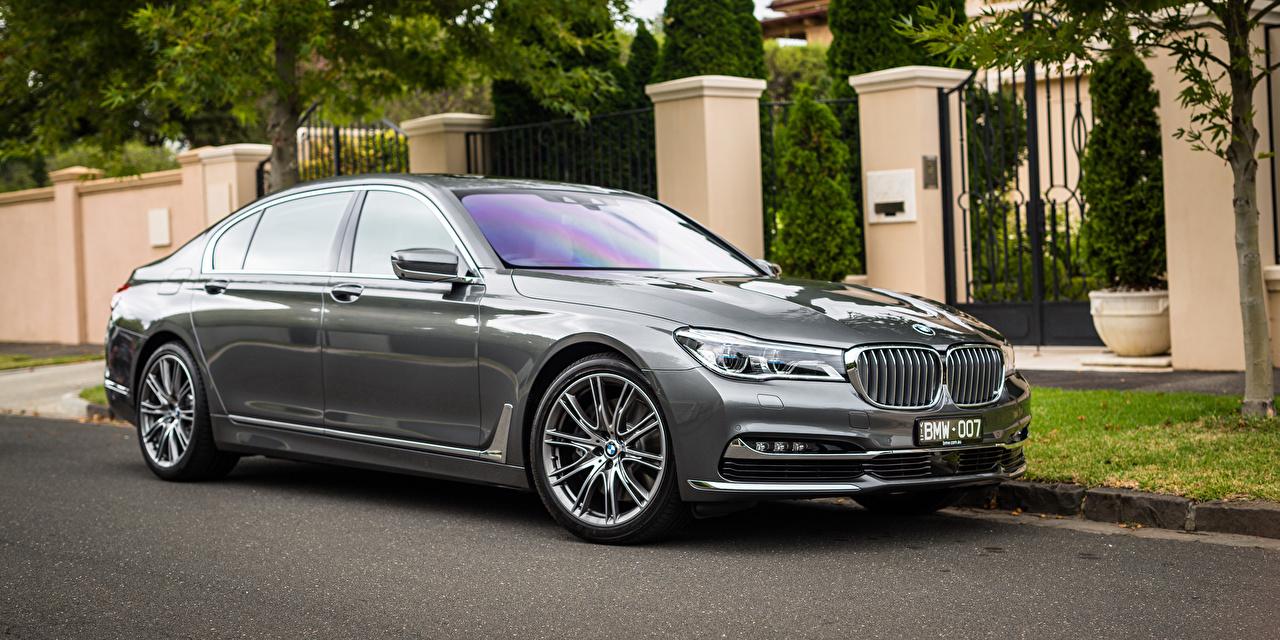 Картинки БМВ G12 7-Series Седан Серый авто BMW серая серые машина машины Автомобили автомобиль