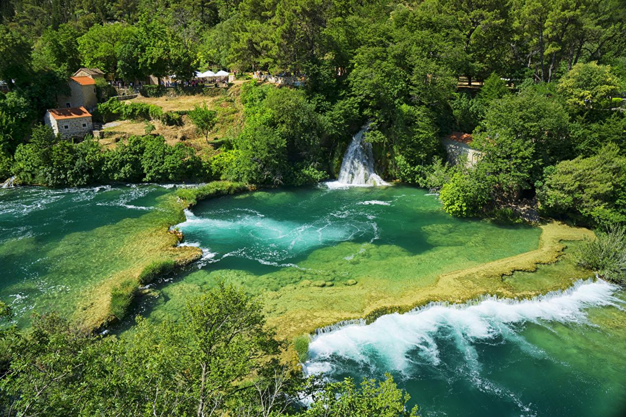 Картинки Хорватия Krka National Park Природа Водопады парк речка кустов Парки река Реки Кусты