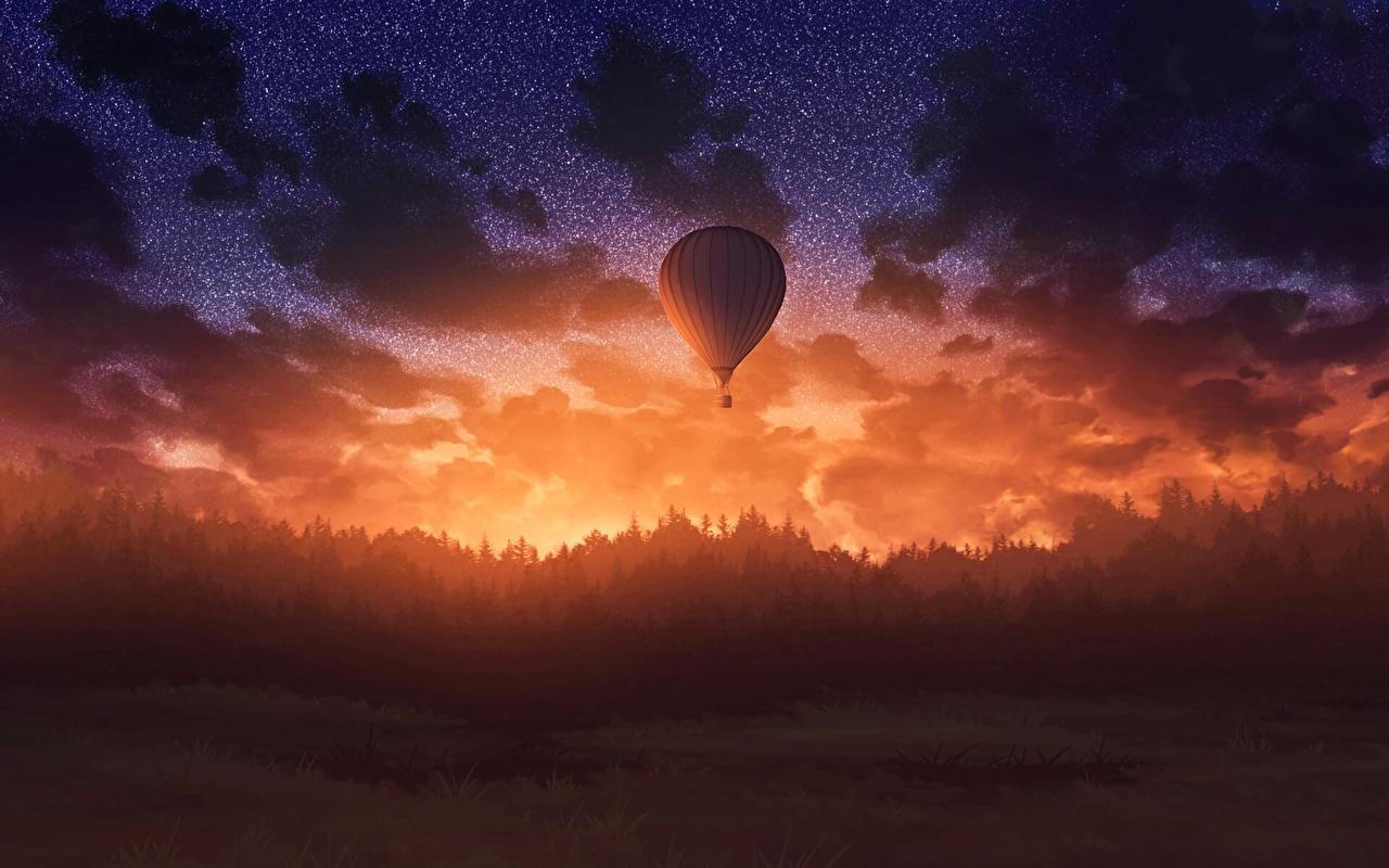 Обои для рабочего стола аэростат Фантастика Небо Леса Рассветы и закаты Вечер Воздушный шар Фэнтези лес рассвет и закат