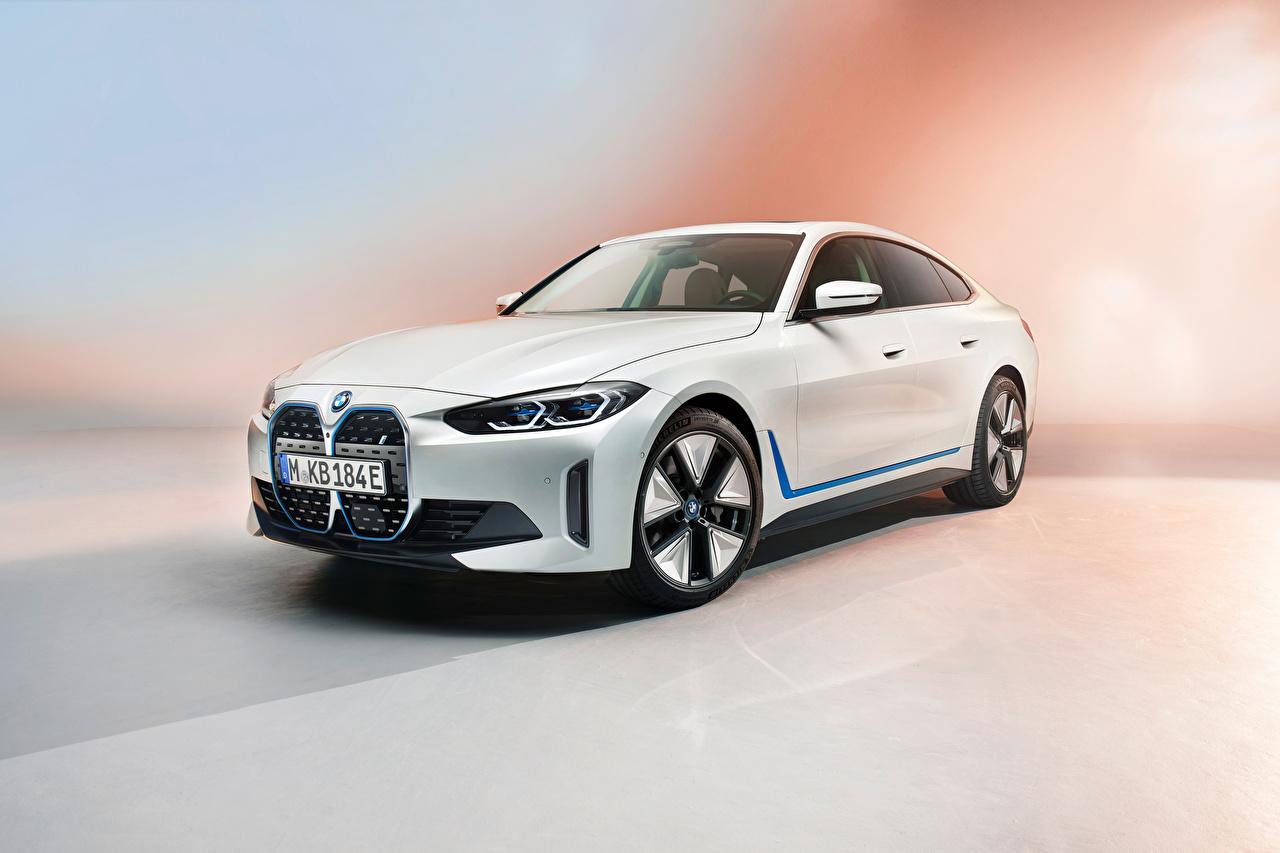 Картинка БМВ i4, Worldwide, (G26), 2021 Белый авто Металлик BMW белая белые белых машина машины Автомобили автомобиль