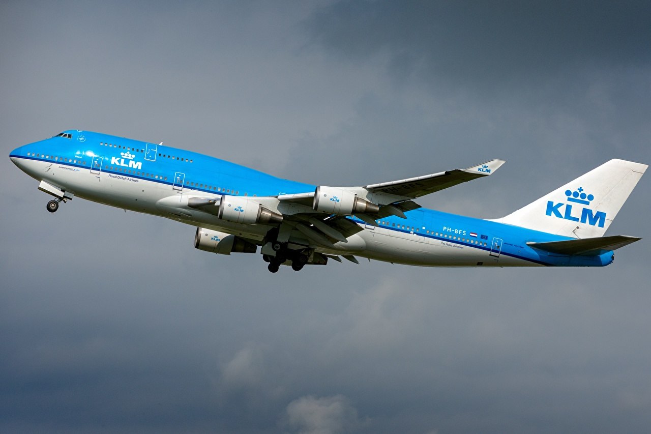 Фотография Boeing Самолеты Пассажирские Самолеты KLM 747-400M Авиация Боинг