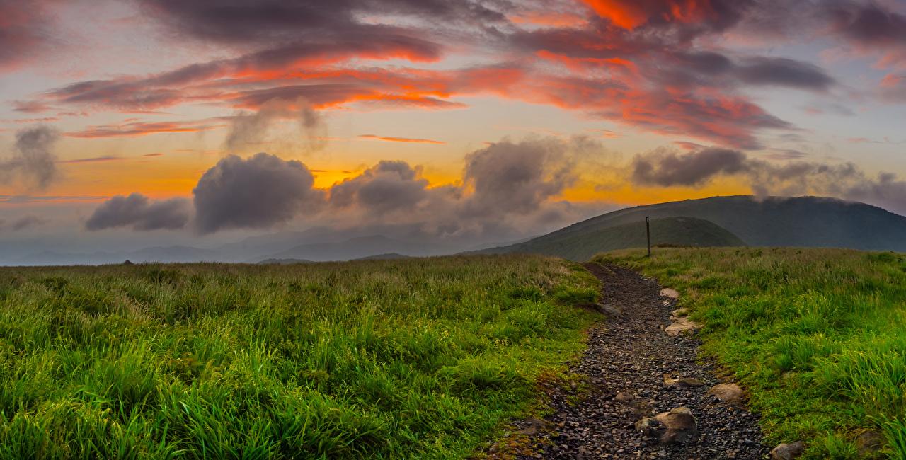 Фотография штаты North Carolina Природа тропинка Холмы Рассветы и закаты Трава Облака США Тропа