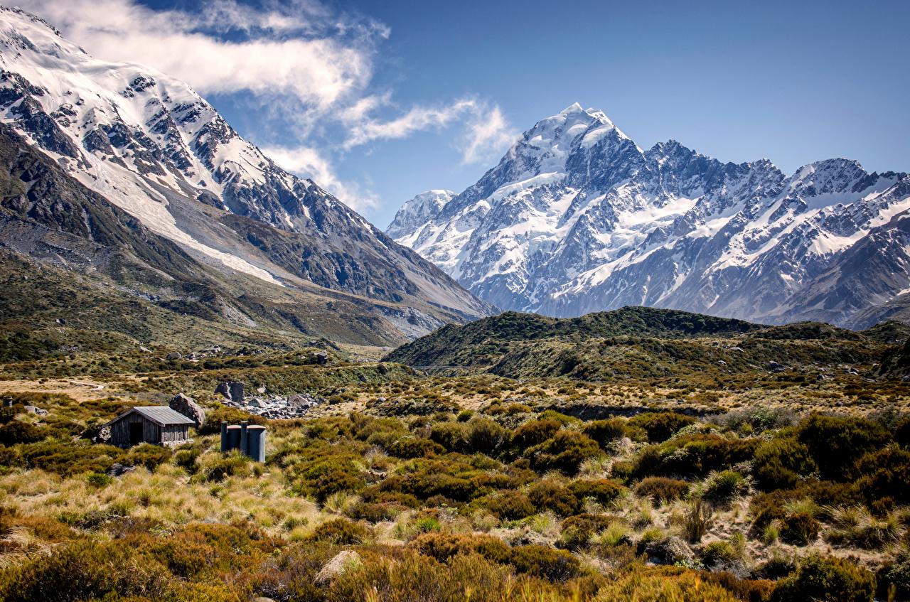 Картинки Новая Зеландия Mount Cook Долина гора Природа Пейзаж Горы