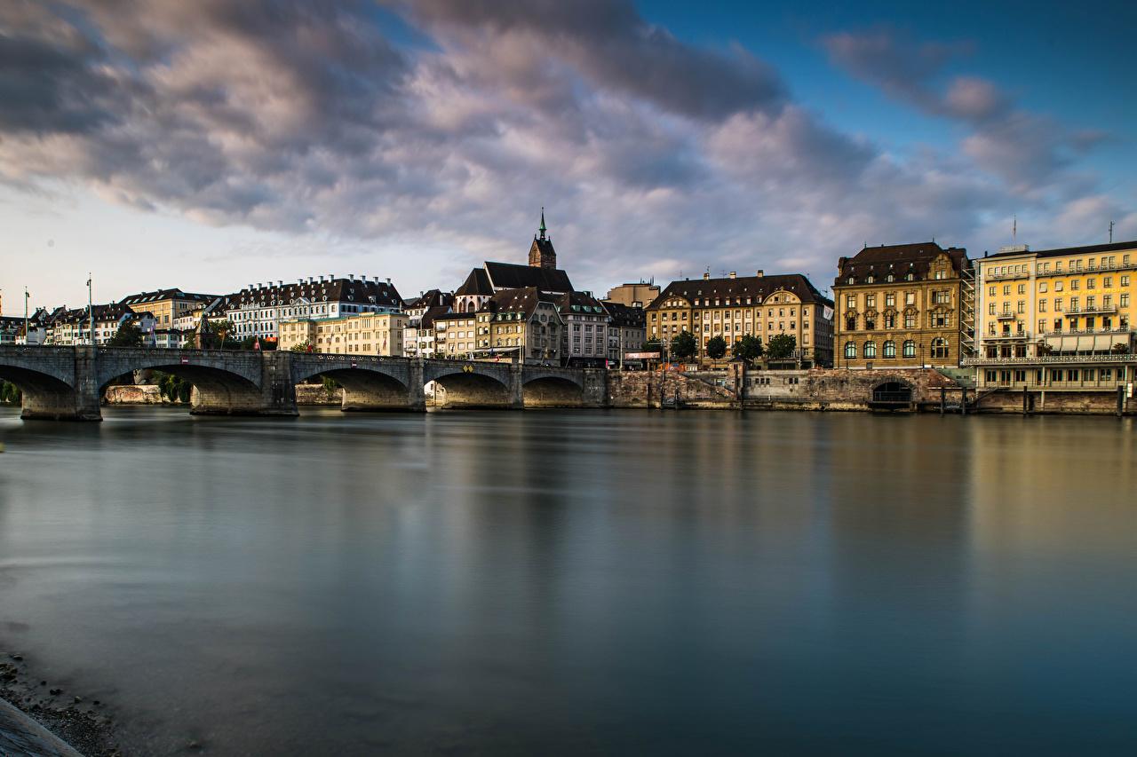 Фотографии Швейцария Basel Мосты Реки Дома город мост река речка Здания Города