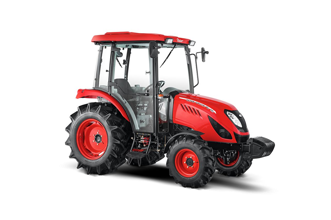 Фотографии Трактор Zetor Utilix CL 55, 2019 красных Сбоку белом фоне трактора тракторы Красный красные красная Белый фон белым фоном