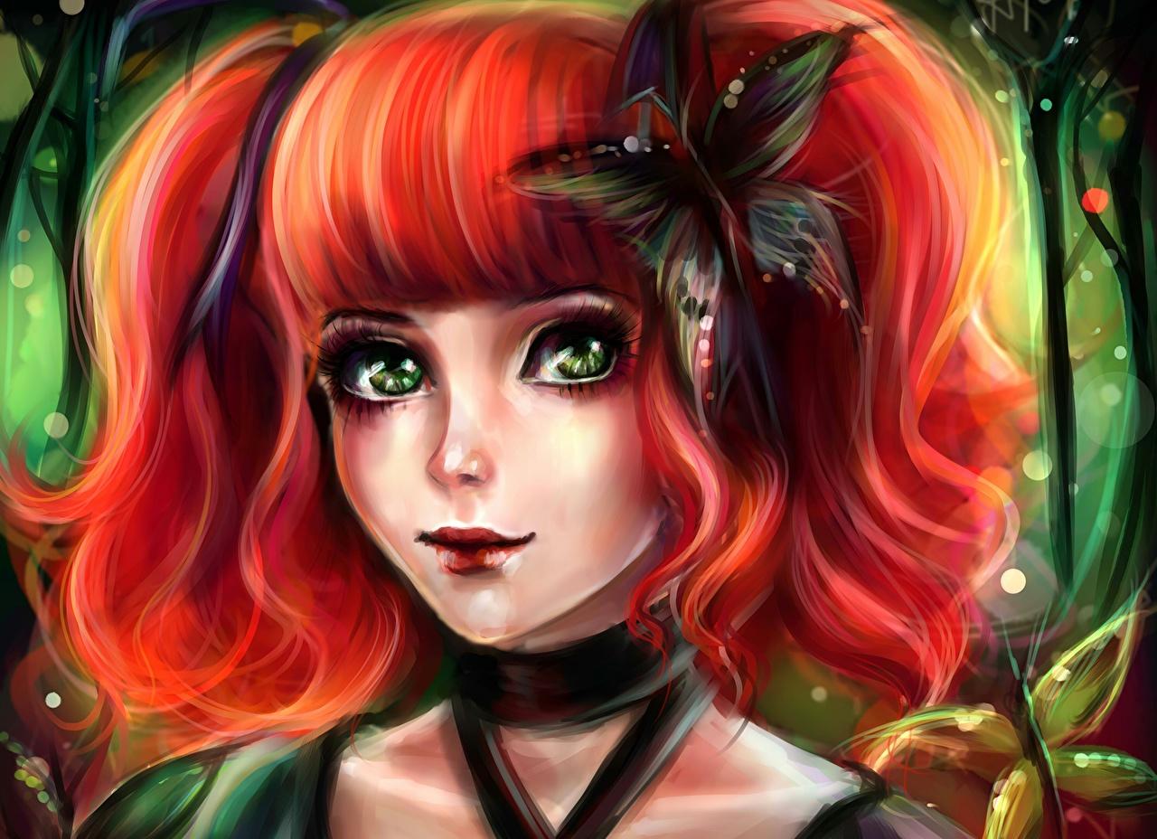 Картинка бабочка Рыжая лица Волосы девушка Фантастика Взгляд Рисованные Бабочки рыжие рыжих Лицо волос Фэнтези Девушки молодая женщина молодые женщины смотрит смотрят